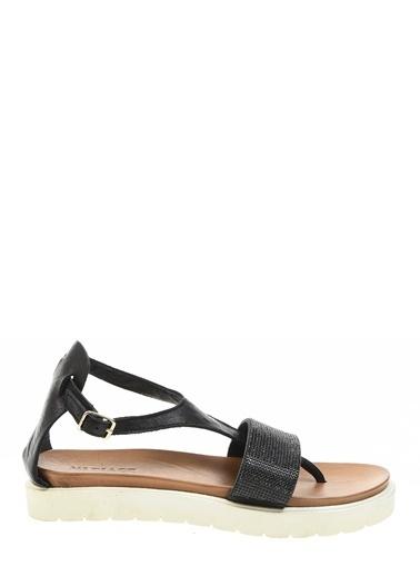 Ves %100 Deri Sandalet Siyah
